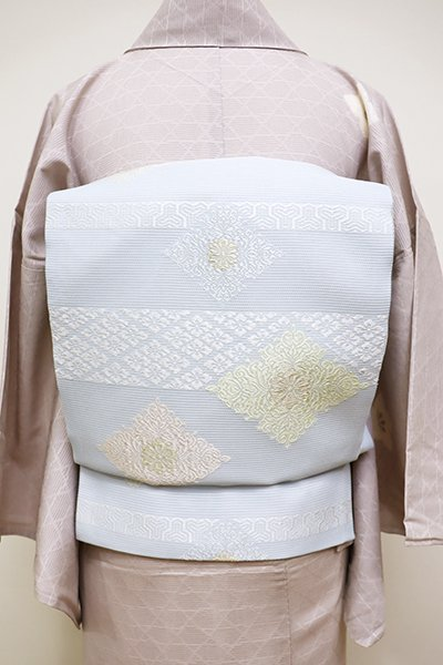 銀座【L-4505】絽 袋帯 淡い勿忘草色 段に装飾菱文