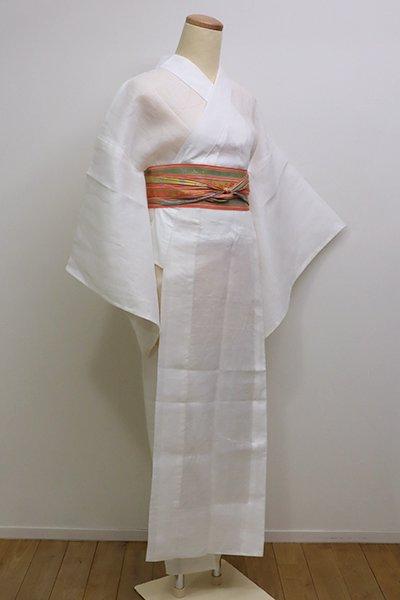銀座【F-378】麻 紋紗 長襦袢 白色 萩の地紋