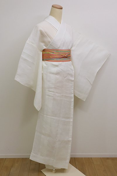 銀座【F-387】麻 紋紗 長襦袢 生成り色 流水の地紋(半衿付)