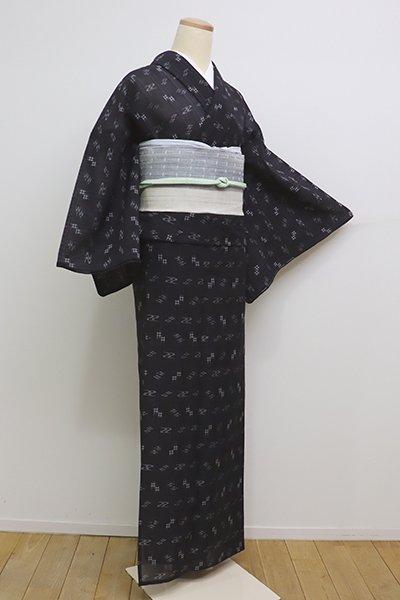 あおき【A-2821】(細め)夏琉球絣 黒色 縞に絣文(反端付)