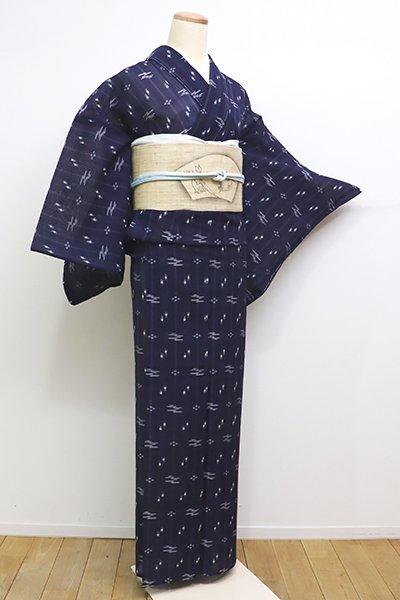 あおき【A-2822】夏琉球絣 濃藍色 縞に絣文(しつけ付・証紙付)