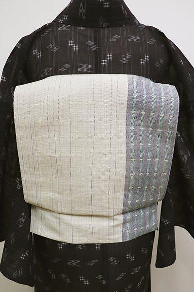 銀座【K-6083】麻地 織八寸名古屋帯 練色×薄花色 竪縞