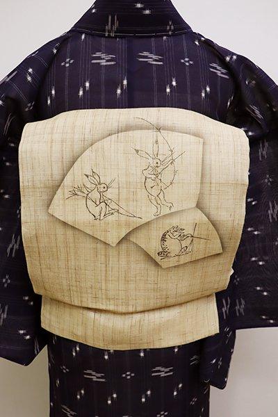 銀座【K-6084】生平麻地 染名古屋帯 枯色 扇面に鳥獣戯画文