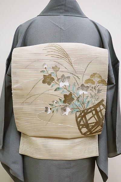 銀座【K-6085】絽綴れ 染八寸名古屋帯 薄卵色 秋草の花篭図(落款入)