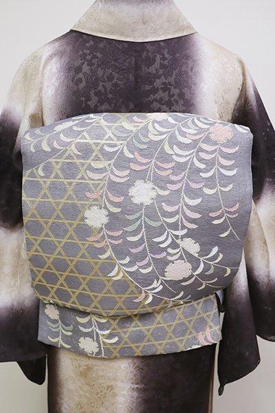 銀座【L-4507】紗 袋帯 青みの錫色 籠目に雪持ち柳の図