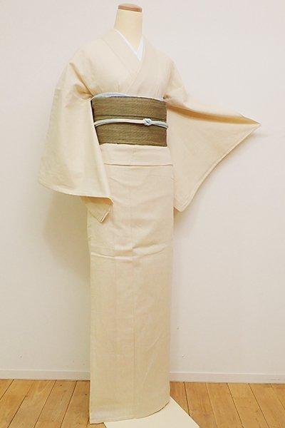 銀座【A-2823】(L) 綿麻地 単衣着物 淡い蜂蜜色 細縞