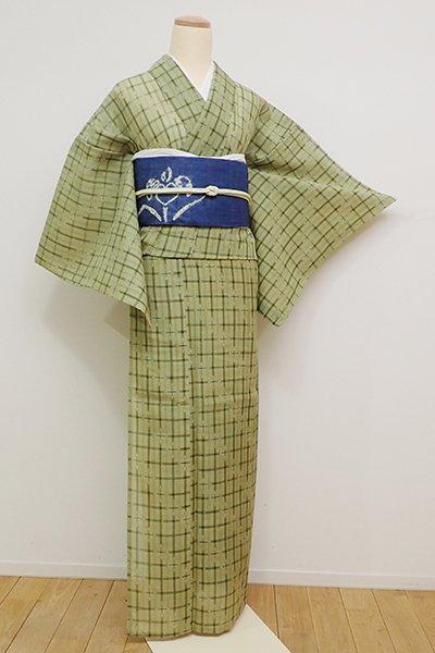 あおき【A-2824】紗紬 柳茶色 格子絣