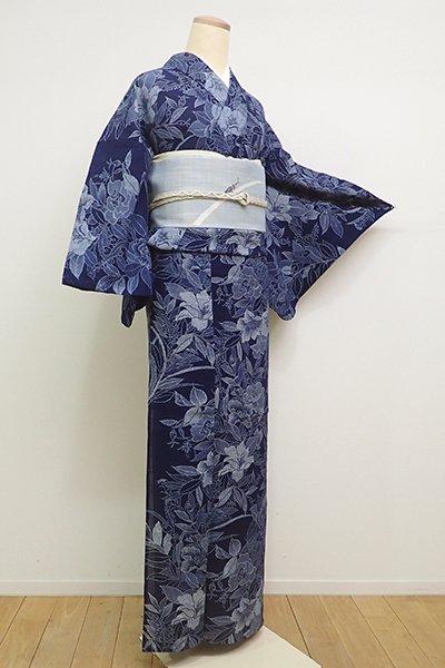 銀座【D-2242】(広め)綿絽 長板中形 浴衣 濃藍色 花の図