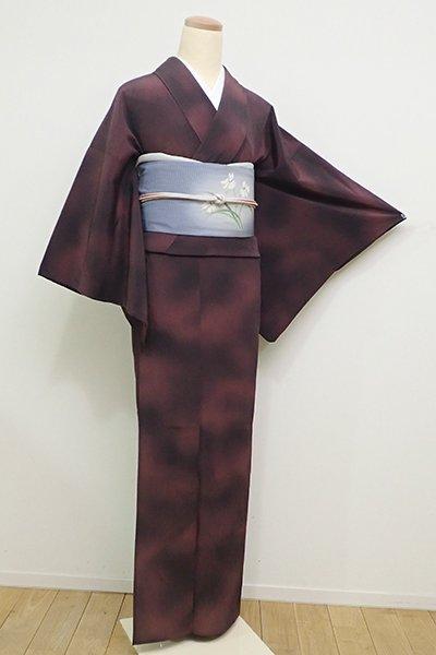 銀座【D-2244】(S・細め)きもの英製  単衣 楊柳 小紋 暗い葡萄色 靄暈かし