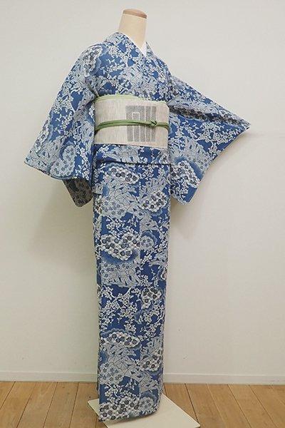WEB限定【D-2246】綿紅梅 浴衣 藍色 雲に梅や竹の図(しつけ付・伊勢丹扱い)