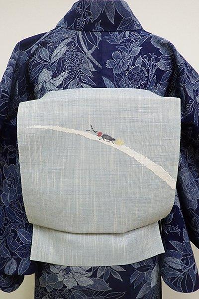 WEB限定【K-6086】夏紬地 すくい織り 八寸名古屋帯 浅縹色 蛍の図