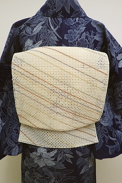 WEB限定【K-6087】粗紗 八寸名古屋帯 淡い鳥の子色 斜め段