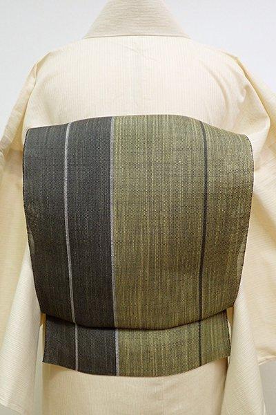 銀座【K-6088】夏紬地 織八寸名古屋帯 青朽葉色×藍墨茶色 竪縞