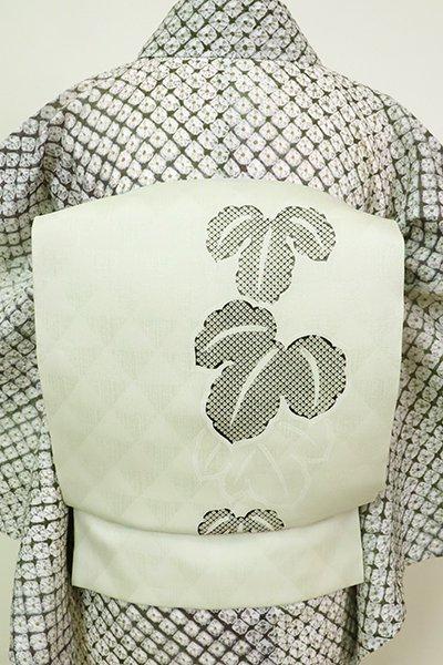 あおき【K-6089】紗紬 染名古屋帯 若芽色 蔦の図(N)