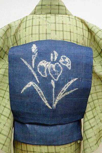 あおき【K-6091】麻地 絞り染め 名古屋帯 青藍色 菖蒲の図