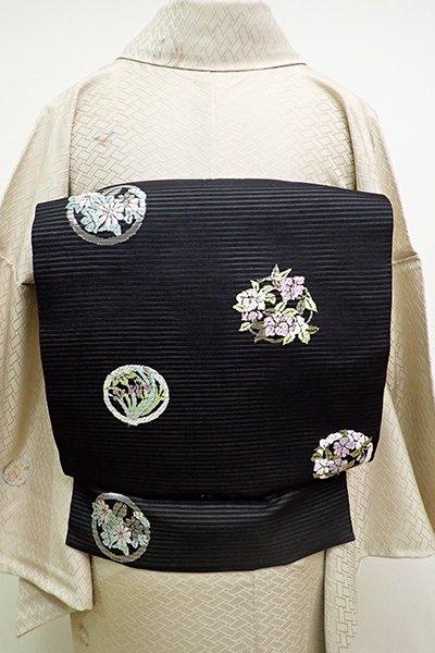銀座【K-6092】絽 織名古屋帯 黒色 花の丸文