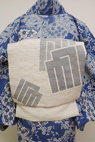銀座【K-6093】絽麻 染名古屋帯 練色 源氏香の図