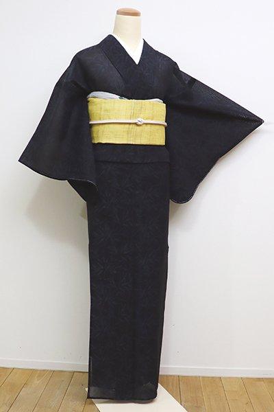 あおき【A-2826】紗紬 黒色 笹の図