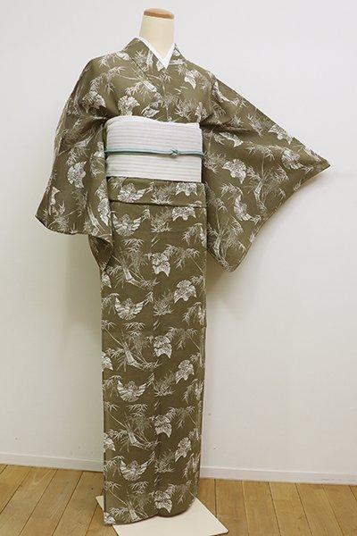 銀座【D-2248】竺仙製 綿紅梅 浴衣 黄海松茶色 竹に雀の図(反端付)