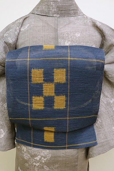 WEB限定【K-6094】粗紗 八寸名古屋帯 青藍色 絣文