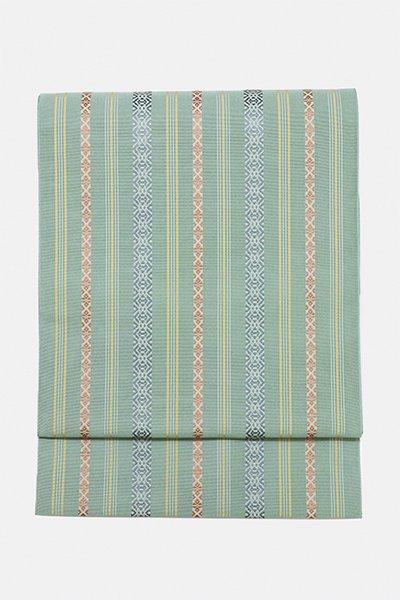 銀座【帯2098】小森草木染工房製 紗献上 松葉色 八寸名古屋帯 (未使用)