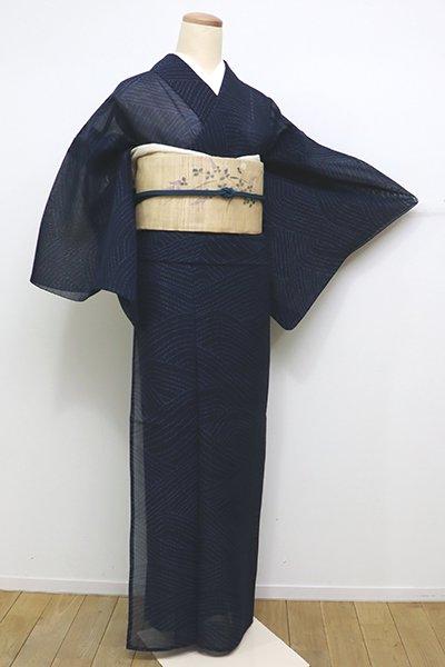 銀座【A-2827】(広め)紗紬 濃藍色 波文