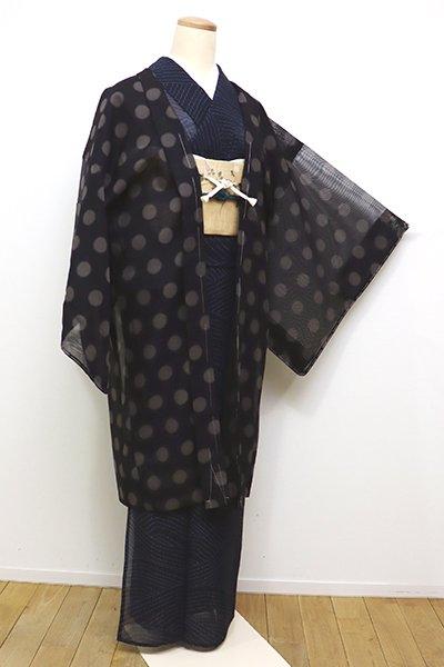 銀座【E-1069】薄物 羽織 黒色×茶鼠色 水玉文