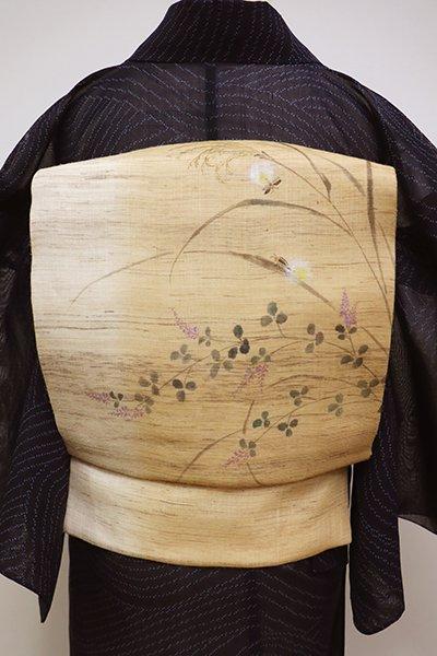 銀座【K-6099】麻地 染名古屋帯 淡香色 秋草に蛍の図(未使用)