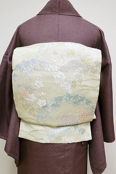 銀座【L-4510】絽 唐織 袋帯 鳥の子色 蔦や秋草の図