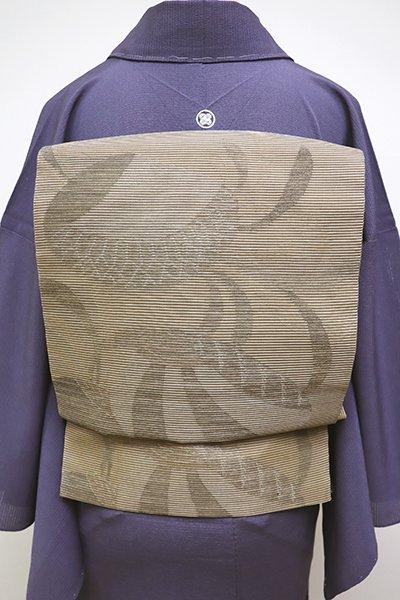 銀座【L-4512】西陣 帯屋捨松製 絽 袋帯 空五倍子色 海松貝文様(落款入)