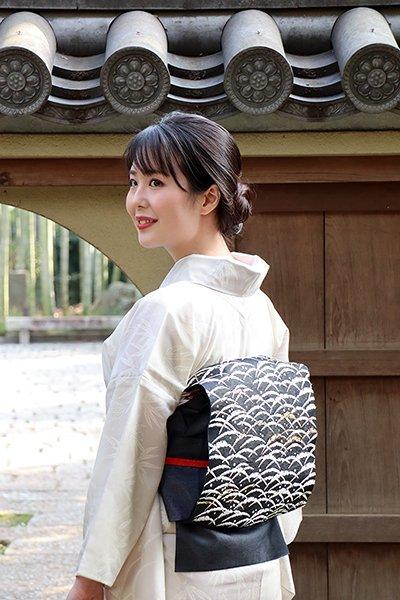 銀座【帯3025】西陣 河合康幸製 夏袋帯 黒色 雪持ち芝文