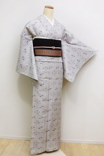 銀座【A-2828】(S)単衣 紬 白鼠色 絣文