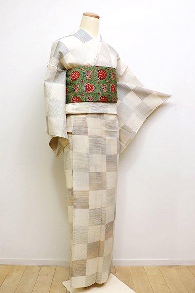 銀座【A-2830】(S)夏 信州紬 淡い浅黄色 市松に段や絣文 (反端付)