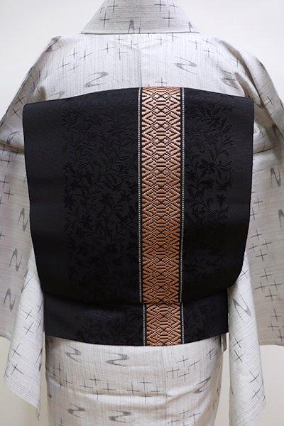 銀座【K-6100】博多織 八寸名古屋帯 黒色×ときがら茶色 一本独古に百合文