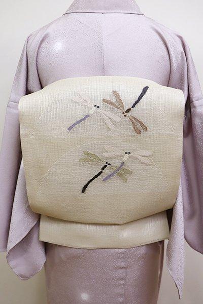 銀座【K-6101】夏 櫛織 開き名古屋帯 薄亜麻色 蜻蛉の図