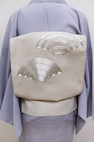 あおき【K-6103】絽綴れ 刺繍 八寸名古屋帯 白練色 青海波文