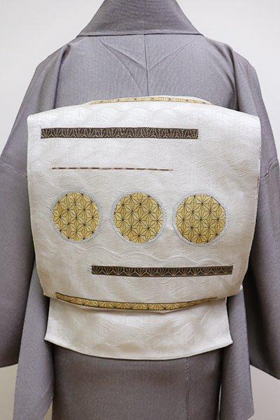 銀座【L-4515】夏 洒落袋帯 波筬織 絹鼠色 抽象文の段