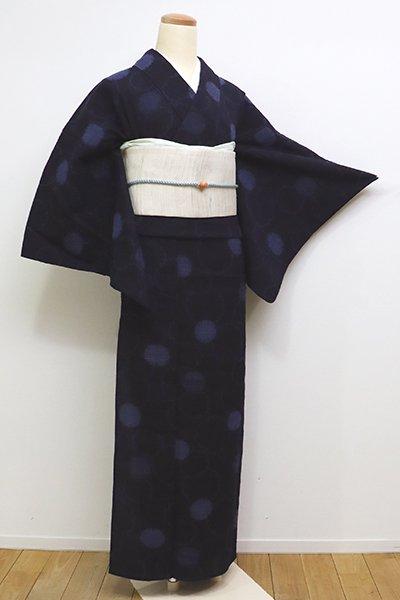 銀座【A-2831】(広め)単衣 小千谷 絹縮 耶麻の手織り 濃藍色 雪輪重ね(証紙付)
