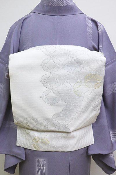 銀座【K-6106】絽 織名古屋帯 白色 七宝市松文