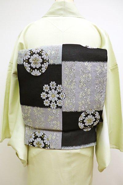 銀座【L-4516】西陣製 絽 袋帯 黒色 市松に有職調丸文(証紙付)(N)
