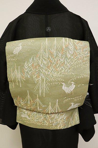 銀座【L-4517】絽 袋帯 柳茶色 葦や白鷺の図