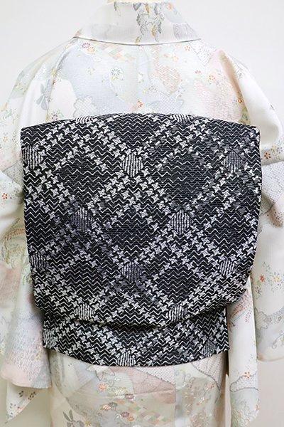 銀座【L-4520】夏 袋帯 黒色 斜め格子