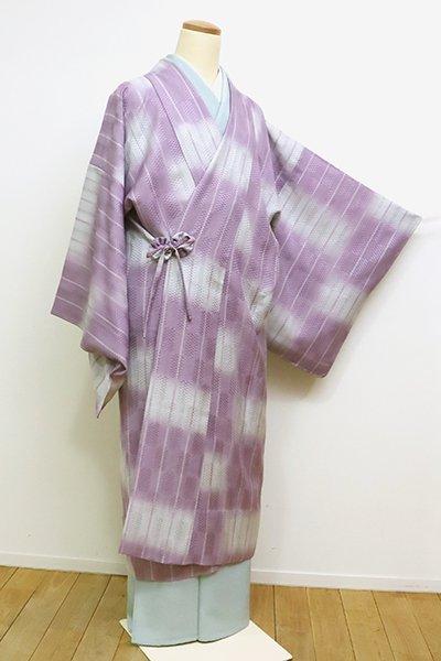 銀座【E-1072】薄物 道中着 浅紫色×紫水晶色 市松暈かし(しつけ付)(N)