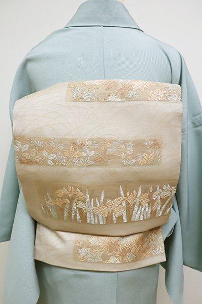 あおき【K-6108】紗 織名古屋帯 雄黄色 菖蒲や楓の段