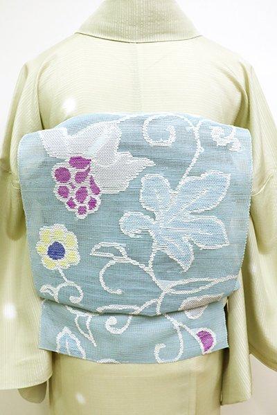 銀座【K-6109】西陣 帯屋捨松製 粗紗 八寸名古屋帯 秘色色 中世ぶどう文(錦や扱い・畳紙付)