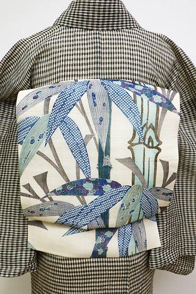 銀座【K-6110】麻地 型絵染 名古屋帯 練色 笹竹の図