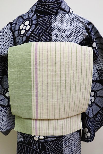 銀座【K-6112】西陣製 麻地 織名古屋帯 薄卵色×苗色 竪縞(証紙付)(N)