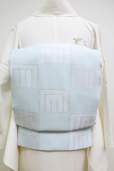 銀座【L-4521】西陣製 夏 袋帯 月白色 源氏香の図(証紙付)(N)