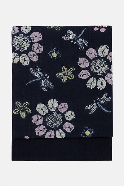 銀座【帯3028】麻地絞り名古屋帯 黒色 ひまわりや蜻蛉の図