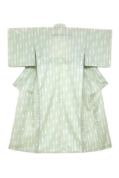 銀座【着物2487】明石縮 淡い青白橡色 縞に絣 (証紙付・しつけ付)